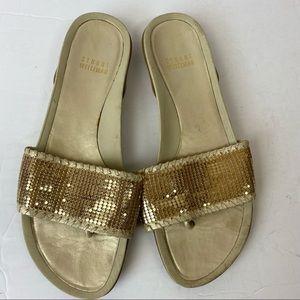 Stuart Weitzman Gold Mesh Mailroom Slide Sandals